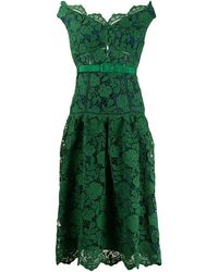Self-Portrait Off-the-shoulder Lace Midi Dress - Green