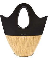 Danse Lente Small Raffia & Leather Bucket Tote Bag - Black