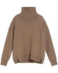 Max Mara Trau Sweater In Wool And Cashmere Black - Brown