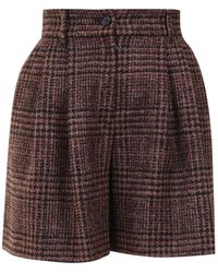 Dolce & Gabbana Checked Wool Shorts - Brown