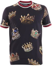 Dolce & Gabbana Crowns Print T-shirt - Blue