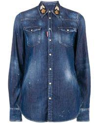 DSquared² Blue Cotton Shirt