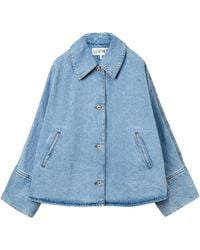 Loewe Oversize Button Jacket In Stone Washed Denim - Blue