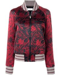 Saint Laurent Printed Satin Bomber Jacket - Red