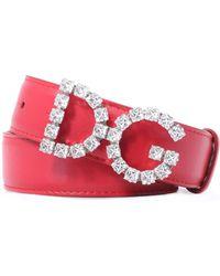 Dolce & Gabbana - Leather Belt W/ Crystal Logo Buckle - Lyst