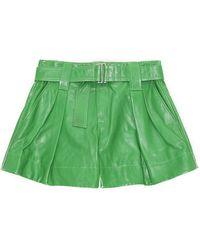 Ganni Lamb Leather Shorts - Green