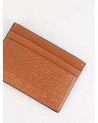 Loewe Anagram Card Holder In Leathe - Brown