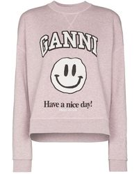 Ganni 'smiley' Sweatshirt - Pink