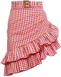 Balmain Asymmetrical Checked Skirt - Red