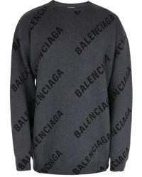 Balenciaga Maglia logo grigio