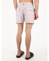 Thom Browne Striped Swimsu - White