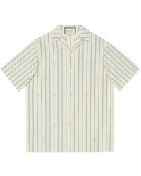 Gucci Striped Bowling Shirt With GG - White