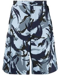 KENZO Printed Cargo Shorts - Blue