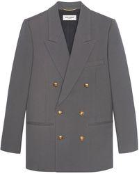 Saint Laurent Double-breasted Jacket In Wool Gabardin - Grey