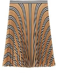 Burberry Logo And Icon Stripe Pleated Skirt - Natural