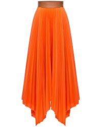 Loewe High Waist Pleated Cotton Twill Skirt - Orange