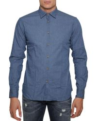 Aglini Denim Stretch Shirt - Blue