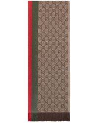 Gucci GG And Web Wool Scarf - Natural