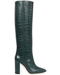 Paris Texas Croco Print Boots - Green