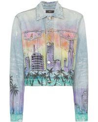 Amiri Airbrush Hollywood Trucker Jacket - Blue