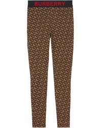 Burberry Leggings con Monogramma - Marrone