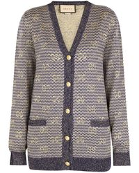 Gucci Lamé Stripes And GG Jacquard Cardigan - Blue