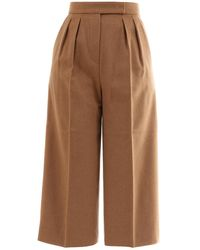 Max Mara Camel Wool Trousers - Natural