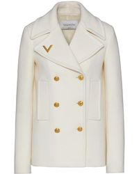 Valentino - Caban in Drill Drap bianco - Lyst