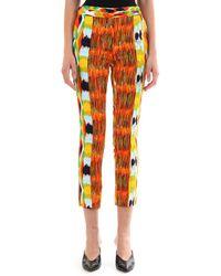 Céline Patterned Viscose Trousers - Orange