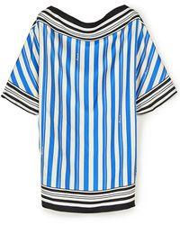 Loewe Striped Print Silk Scarf Top - Blue