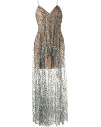 Self-Portrait - Leaf Sequin Ruffle Maxi Dress - Lyst