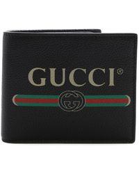 Gucci Portafoglio bi-fold Print in Pelle - Nero