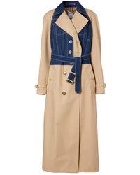 Burberry Cotton Gabardine Trench Coat - Blue