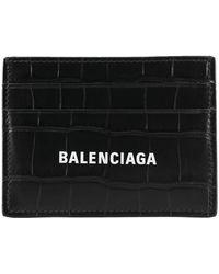 Balenciaga Portacarte Cash stampa Cocco - Nero