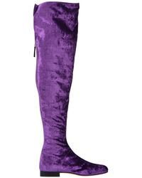 Alberta Ferretti Velvet Over-the-knee Boots - Purple