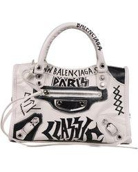 Balenciaga Borsa Mini City in pelle con stampa Graffiti - Bianco