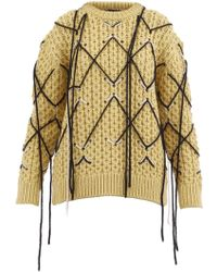 CALVIN KLEIN 205W39NYC Jumper In Embroidered Honeycomb - Yellow