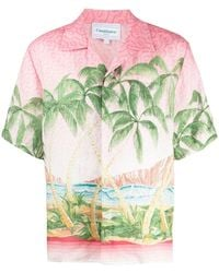 CASABLANCA Linen Bowling Shirt - Pink