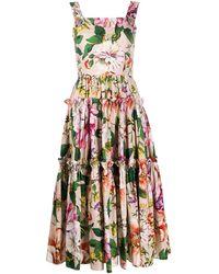 Dolce & Gabbana Abito a Fiori a Balze - Multicolore