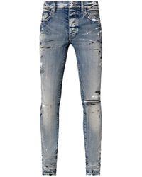 Amiri Hand Painted Slim Jeans - Blue