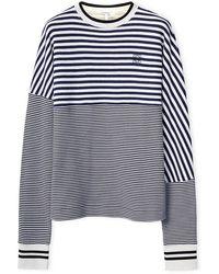Loewe Anagram Striped Sweatshirt In Cotton - Blue