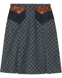 Gucci GG Jacquard Denim Skirt - Blue