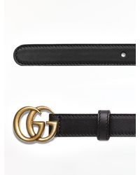 Gucci Leather Belt With GG Marmont Buckle - Black