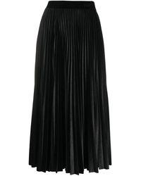 Valentino Pleated Jersey Velvet Skirt - Black