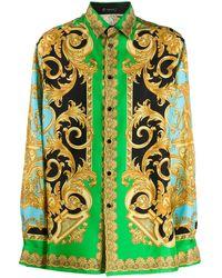 Versace Camicia con stampa barocca - Verde