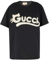Gucci Logo T-shirt With Rhinestones - Black