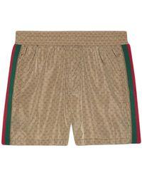Gucci Nylon Swim Shorts With GG - Brown