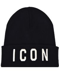 DSquared² Embroidered Icon Beanie Hat - Black