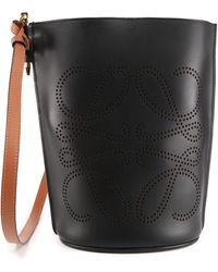 Loewe Gate Anagram Bucket Bag - Black