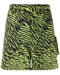 Ganni Tiger Print Shorts - Green